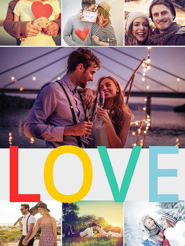 Fotopussel med teman collage för 7 bilder