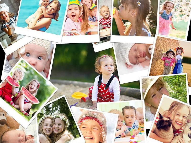 Fotopussel med overlappande layout med 17 bilder