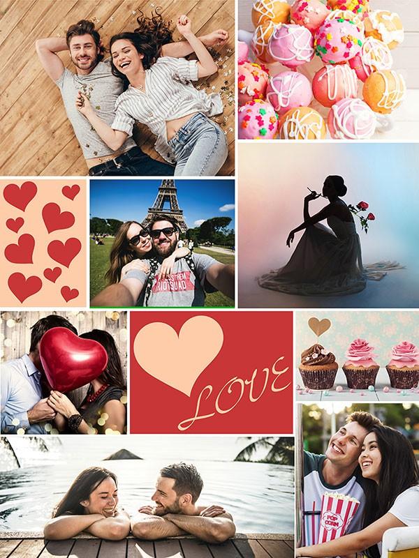 Fotopussel med teman collage för 8 bilder