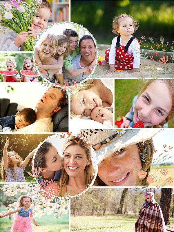 Fotopussel med illustrationer för 12 Bilder