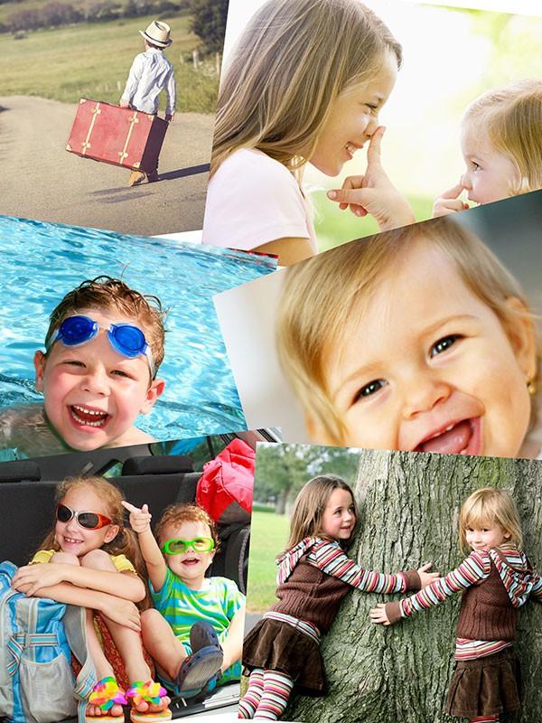 Fotopussel med overlappande layout med 8 bilder