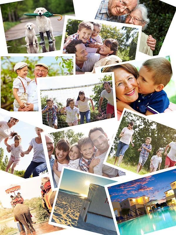 Fotopussel med overlappande layout med 12 bilder