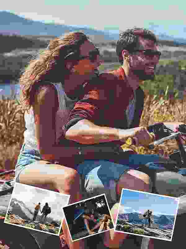 Pusselcollage med eget foto som bakgrund för 4 bilder