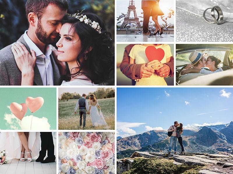 Fotopusselcollage med enkelt layout med 10 bilder