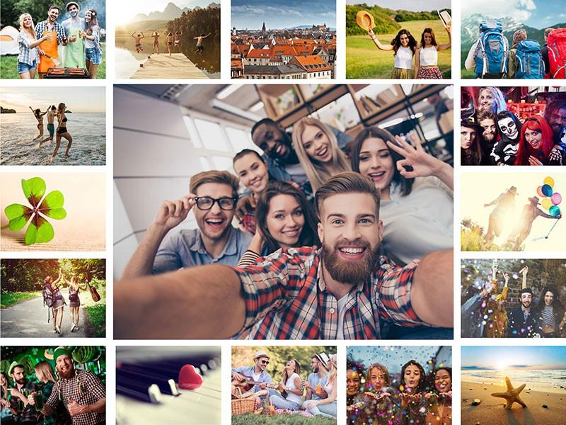 Fotopusselcollage med enkelt layout med 17 bilder