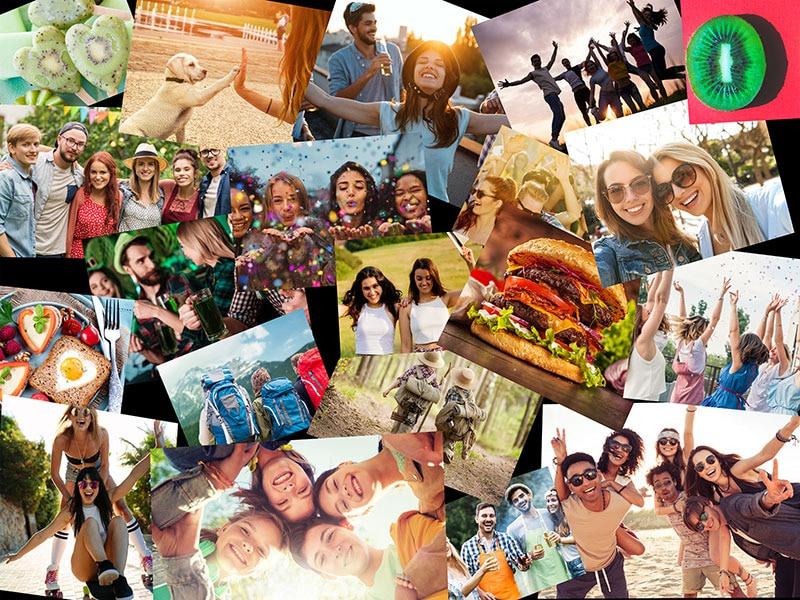 Fotopussel med overlappande layout med 20 bilder
