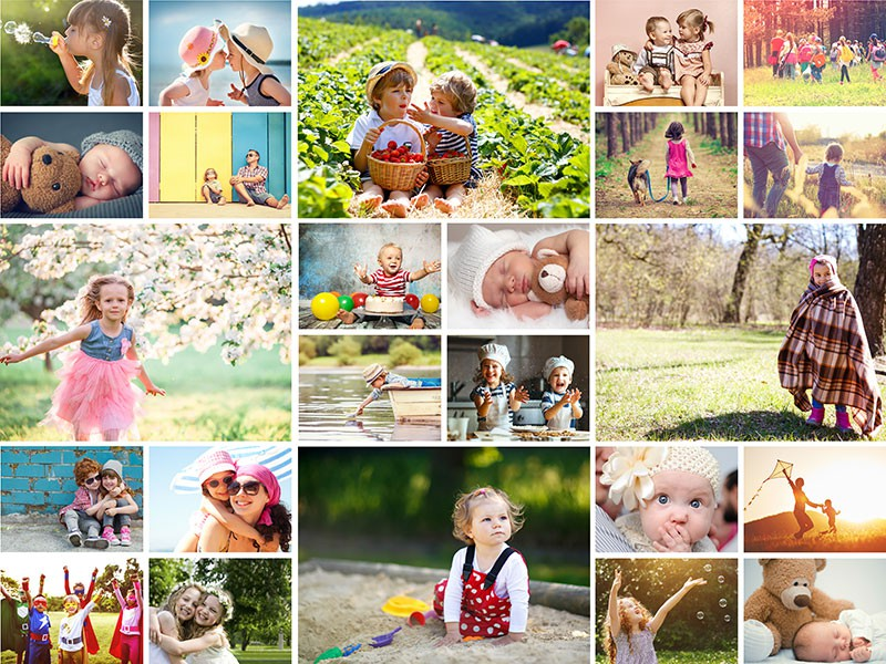 Fotopusselcollage med enkelt layout med 24 bilder